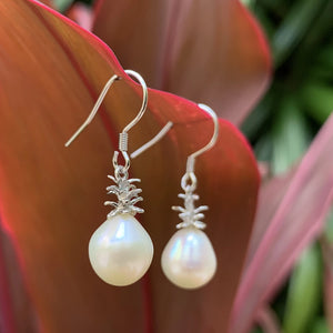 "Pineapple Pearl Earrings 1"" Classic White"