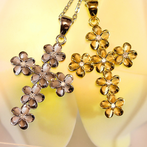 Plumeria Cubic Zirconia Cross Closeup Gold & Silver