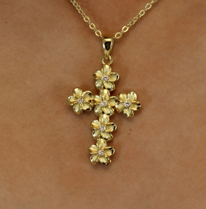 Plumeria Cubic Zirconia Cross Closeup Gold on Model