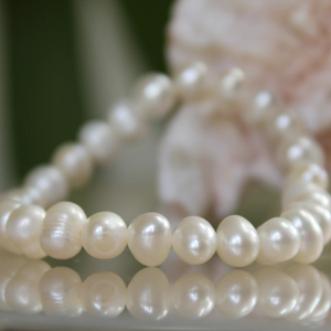 Set of 2 Freshwater Pearl Stretch Bracelets