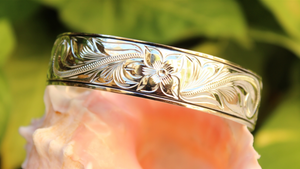 Hawaiian Scroll Cuff in .925 Sterling Silver closeup