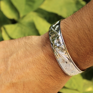 Hawaiian Scroll Cuff in .925 Sterling Silver on model