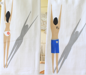Hawaiian Style Towels Man and Woman Swimmer