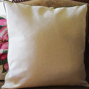Tropical Flowers Embroidered Pillow Back
