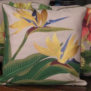 Tropical Flowers Embroidered Pillow Bird of Paradise