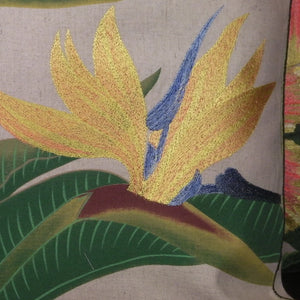 Tropical Flowers Embroidered Pillow Bird of Paradise Closeup