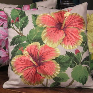 Tropical Flowers Embroidered Pillow Hibiscus