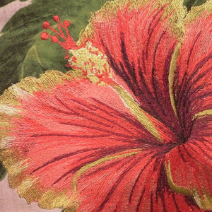 Tropical Flowers Embroidered Pillow Hibiscus Closeup