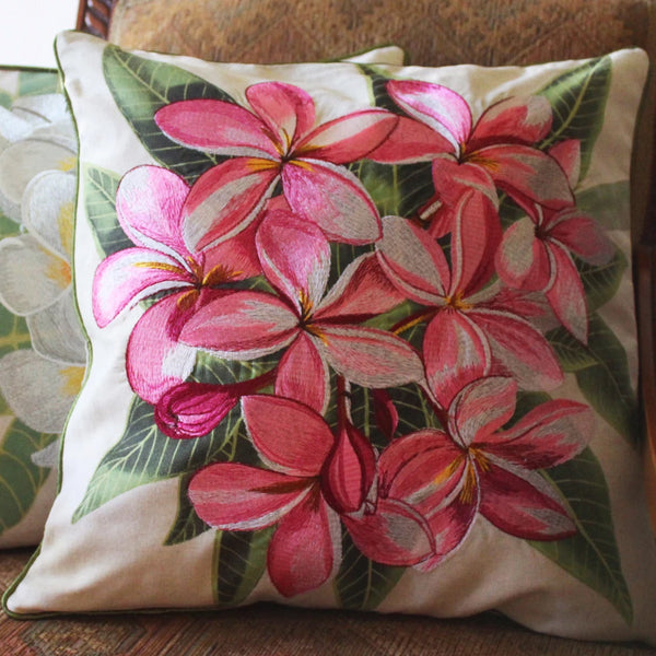 Tropical Flowers Embroidered Pillow Pink Plumeria
