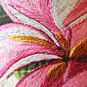 Tropical Flowers Embroidered Pillow Pink Plumeria Closeup