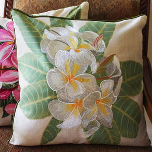 Tropical Flowers Embroidered Pillow White Plumeria