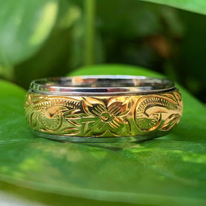 Spinner Scroll Ring Two Tone