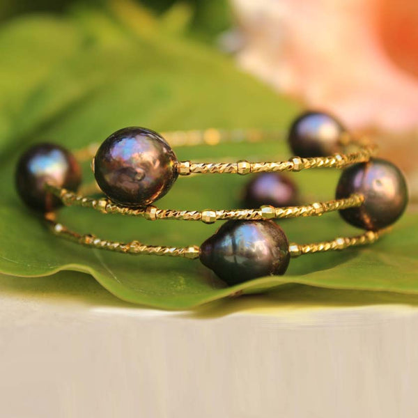 Baroque Pearl Memory Wire Bracelet Black Pearl & Gold Wire