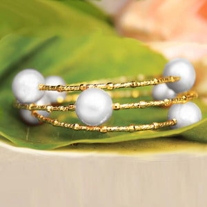 Baroque Pearl Memory Wire Bracelet White Pearl on Gold Wire
