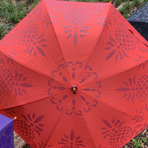 Hawaiian Pineapple Quilt  Print Umbrella Red