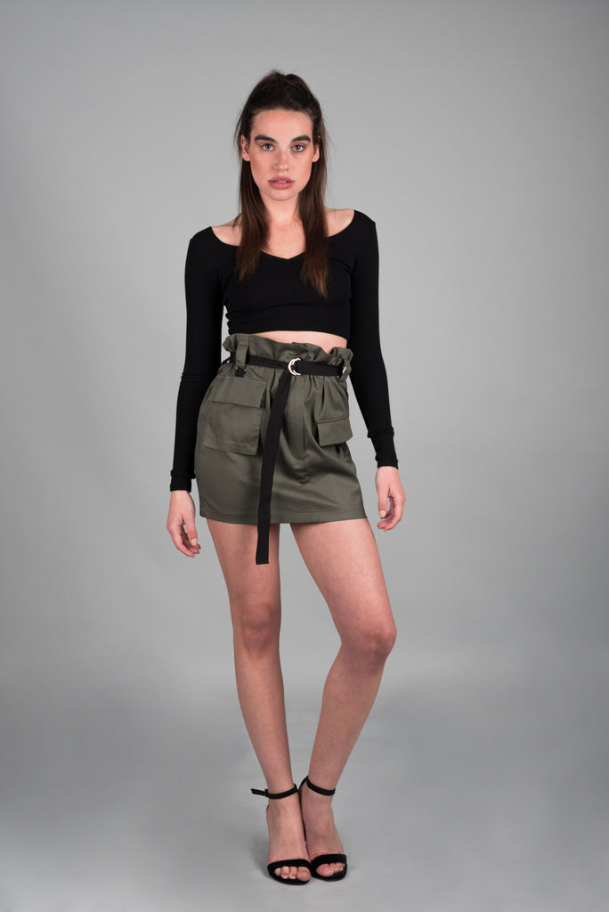 CARGO FRILLED SKIRT WITH BELT