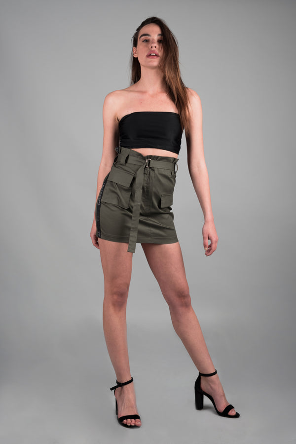 TAPED CARGO SKIRT WITH BELT
