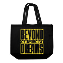 Load image into Gallery viewer, DMY x Morgan Hislop 'BEYOND OUR WILDEST DREAMS'  Black Oversize Tote Bag