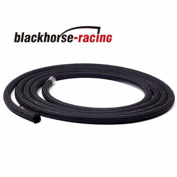 20 Feet AN4 Nylon And Stainless Steel Braided Fuel Oil Gas Line Hose Black 4AN