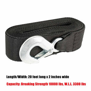 "DELUXE BOAT TRAILER REPLACEMENT WINCH STRAP 10000LB 2""x20' WITH SNAP HOOK"