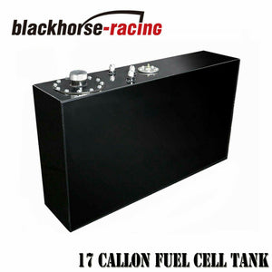 17 Gallon Slim Aluminum Black Race Fuel Cell Gas Tank w/ Level Sender Top-Feed