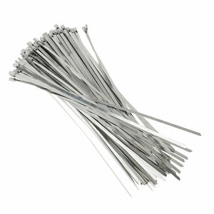 "100pcs 12"" Stainless Steel Metal Cable Zip Tie Self Lock Strap Heavy Duty 200LBS"