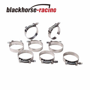 "8PC For 2-1/2'' Hose (2.76""-3.07"") 301 Stainless Steel T Bolt Clamps 70mm-78mm"