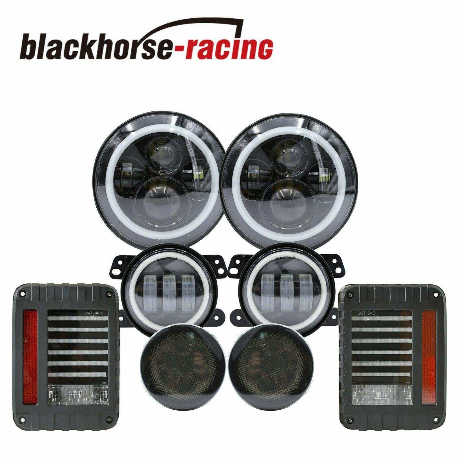 7'' LED Halo Headlight Fog Turn Signal Tail Light Combo Kit For Jeep Wrangler JK