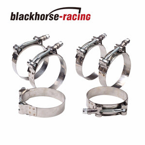 "6PC For 2-1/2'' Hose (2.76""-3.07"") 301 Stainless Steel T Bolt Clamps 70mm-78mm"