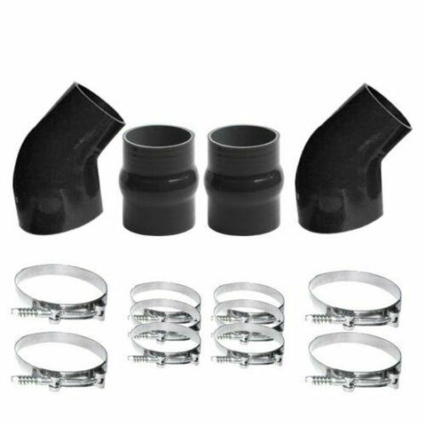 INTERCOOLER BOOT SILICONE HOSE CLAMP KIT BLACK For 1994-2002 DODGE 5.9L Diesel