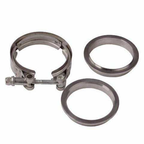 2.5'' / 63mm Stainless V-Band Bolt Clamp + 2 Flange For Down-Pipe Exhaust 70-80