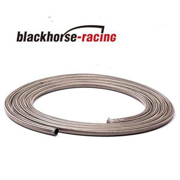 -6 AN Stainless Steel Braided Fuel / Oil Line Hose AN6 Silver 20 Feet