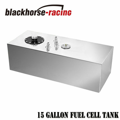15 Gallon Polished Aluminum Race Fuel Cell Gas Tank w/ Cap & Level Sender 57L