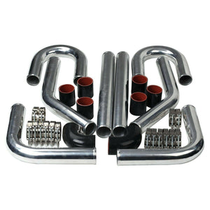 "2"" Aluminum Turbo Intercooler 45/90 Degree Pipe+U Pipe+Silicone Hose+Clamp BKRD"