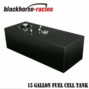 15 Gallon Black Race Fuel Cell Gas Tank w/ Cap & Level Sender Polished Aluminum