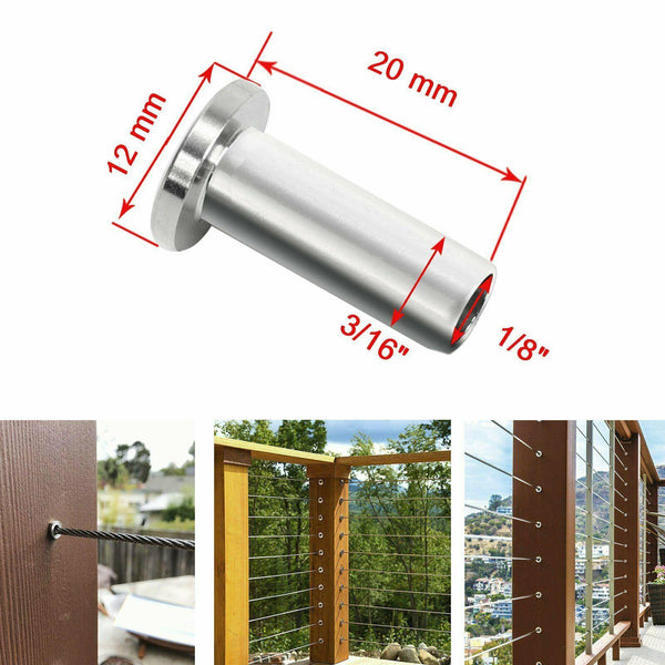 "T316 Stainless Steel Protector Sleeve for1/8""5/32""3/16""Cable Railing Wood 150pcs"