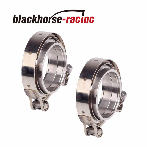 "2PCS 3"" INCH V-BAND CLAMP & FLANGES KIT MILD STEEL Downpipe Intercooler Turbo"