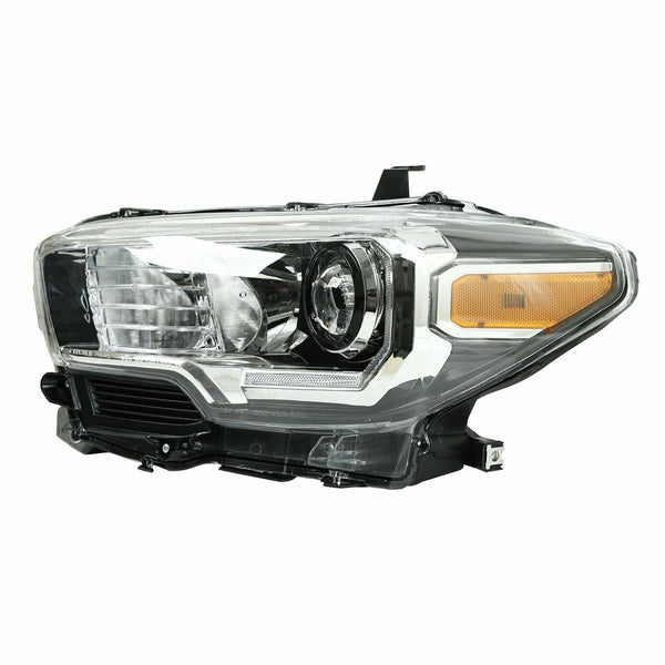 Projector Chrome Headlight Left Driver w/LED DRL For 16-20 Toyota Tacoma Black