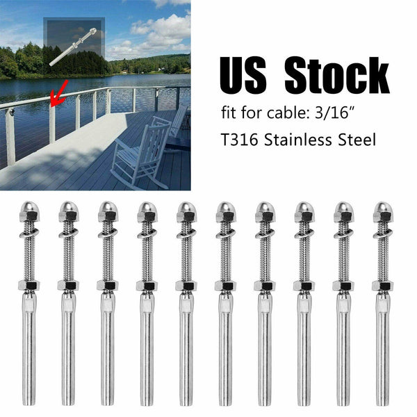 "T316 Stainless Steel Swage Threaded Tensioner End Fitting 3/16"" Cable Railing x5"