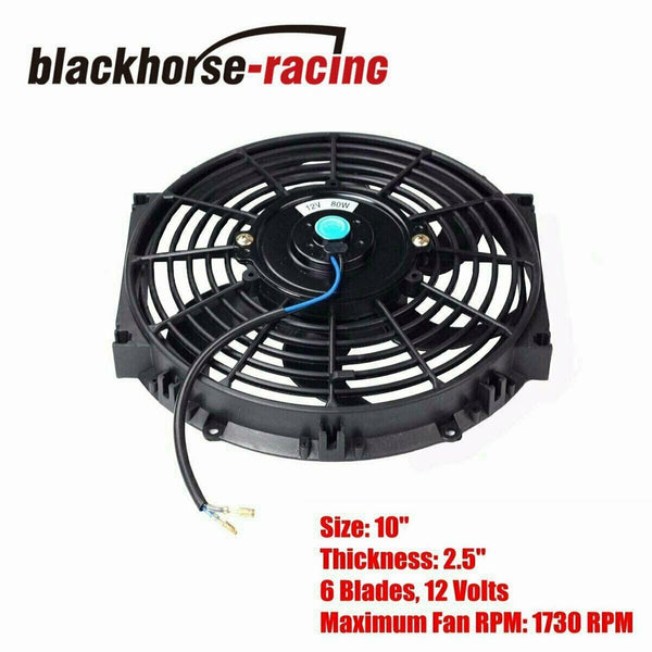"Aluminum 6 Row Radiator Remote Transmission Oil Cooler & 10"" Cooling Fan w/ Kit"