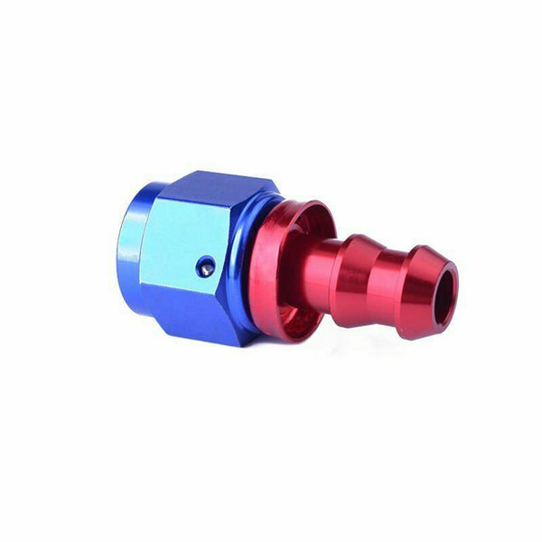 2PC Red & Blue AN 6 Straight Aluminum Push on Oil Fuel Line Hose End Fitting