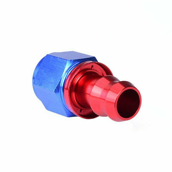 2PC Red & Blue Straight Aluminum Push on Oil Fuel Line Hose End Fittings AN4 New