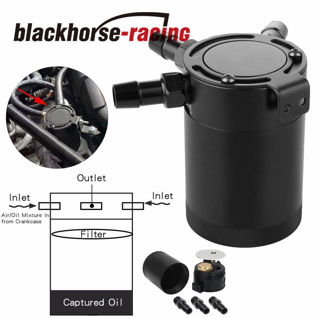 2X Universal Racing Baffled 3 Port Oil Catch Can Tank Air Oil Separator J1A7