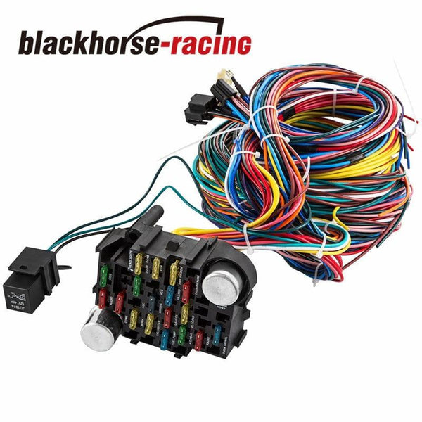 UNIVERSAL Extra long Wires 21 Circuit Wiring Harness For CHEVY Mopar FORD Hotrod