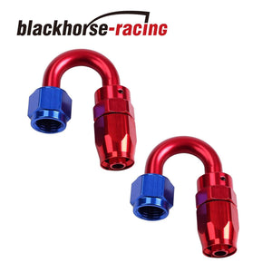 2PC Red & Blue 180 Degree Aluminum Swivel Oil Fuel Line Hose End Fittings AN12
