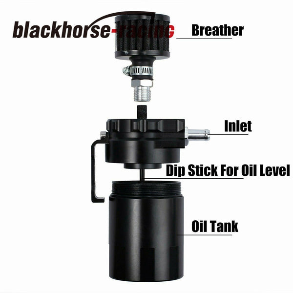 BLACK TANK/CAN W/ FILTER CYLINDER ALUMINUM ENGINE OIL CATCH RESERVOIR BREATHER