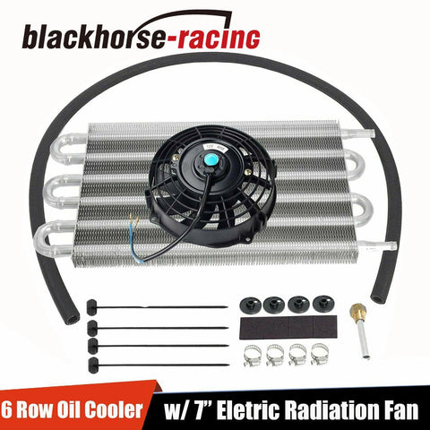 "7"" Cooling Fan & 6 Row Oil Cooler w/ Kit Radiator Remote Aluminum Transmission"