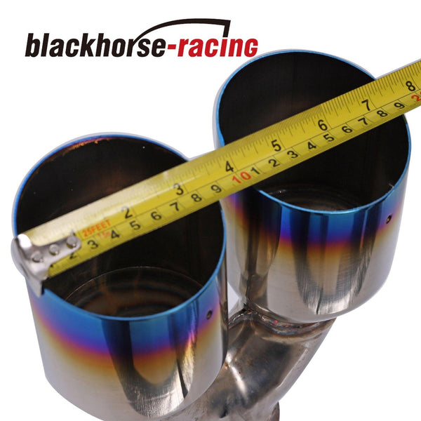2x 2.5''In 3.5''Out Burnt Blue Polished Stainless Steel Straight Exhaust Duo Tip