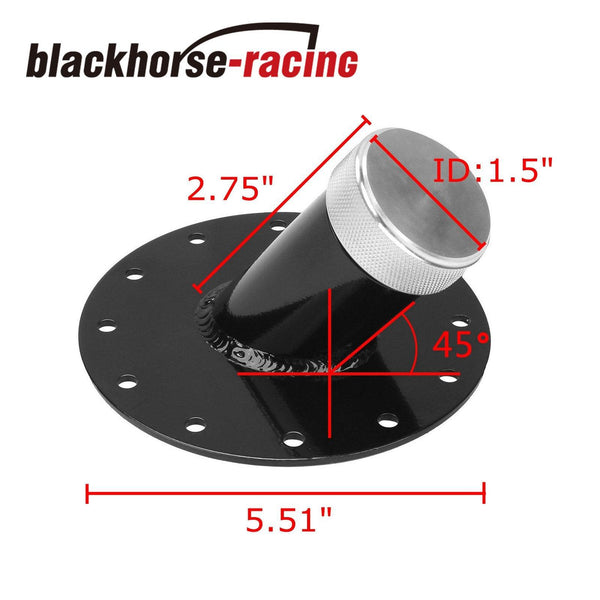 FUEL TANK CAP CELL GAS 2.75'' 45 DEGREE FILLER NECK 1.5'' REMOTE FAST FILL BLACK