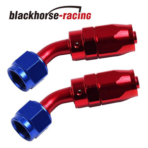 2PC Red & Blue 45 Degree Aluminum Swivel Oil Fuel Line Hose End Fittings  AN12